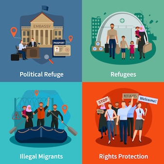 Stateless refugees  concept set of political refugee illegal immigrants rights protection