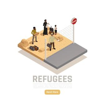 Изометрическая иллюстрация беженцев без гражданства с группой иммигрантов на пограничном пункте, нуждающейся в помощи