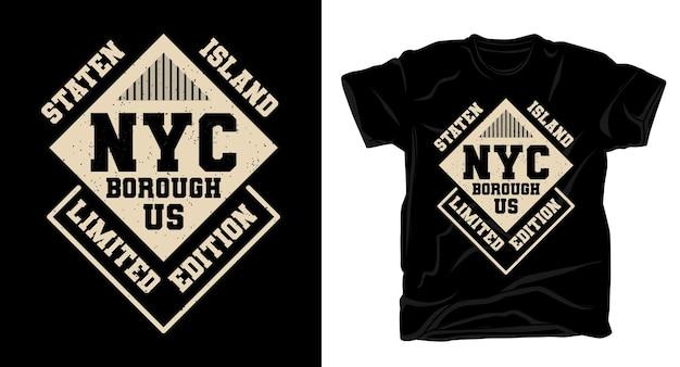 スタテンアイランドニューヨーク市の自治区のタイポグラフィtシャツのデザイン