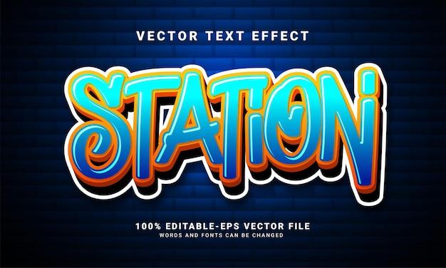 Station 3d 텍스트 효과, 편집 가능한 낙서 및 다채로운 텍스트 스타일