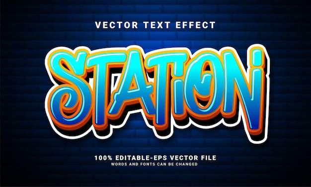 Station 3d text effect, editable graffiti and colorful text style