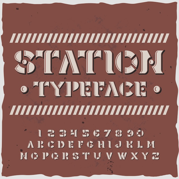 Station alphabet with typeface retro style ornate letters and digits with stencil plates
