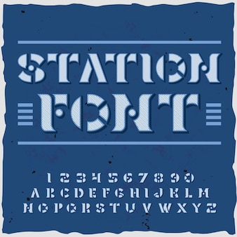 書体レトロなスタイルの華やかな文字と数字とステンシルプレートのイラストと駅の背景
