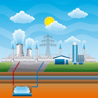 Station geothermal power clean