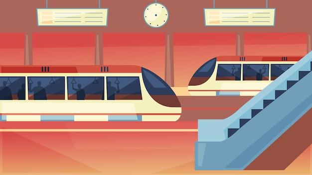Station with metro train underground platform