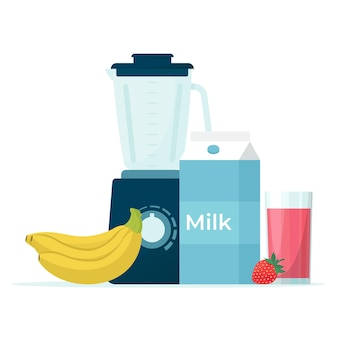 Stationary blender and products for smoothies illustration in flat style, isolated on white background