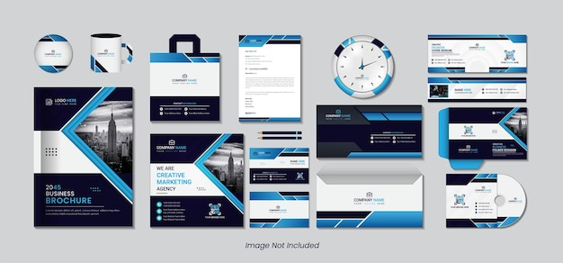 Stationary design set with blue and black color abstract shapes.