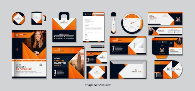 Stationary design set with yellow, orange and black gradient color simple shapes. Premium Vector