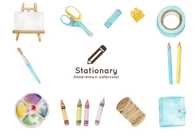Stationary elements hand-drawn watercolor illustration