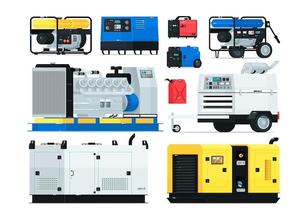 고정식, 산업용 및 휴대용 디젤 발전기. 에너지 생성 백업 장비 및 전기 전압 소스 교류 발전기