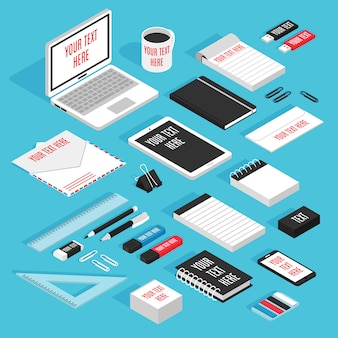 Stationary isometric template mockup set