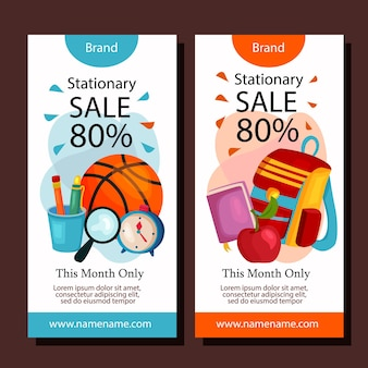 Stationary sale vertical banner layout template