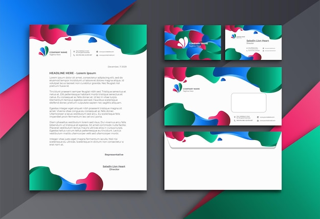Stationary set and letterhead with colorful liquid shape