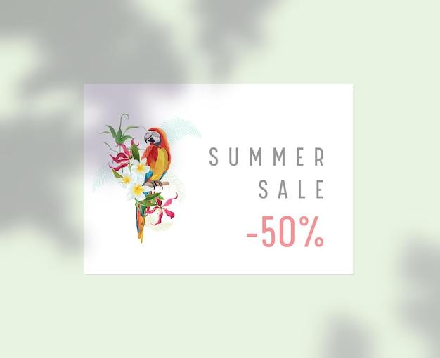 고정 템플릿, 여름 세일 포스터, plumeria 꽃과 나무 잎 그림자가 있는 나뭇가지에 앉아 있는 앵무새가 있는 기업 비즈니스 브랜드 아이덴티티. 할인 프로모션 제공. 벡터 일러스트 레이 션