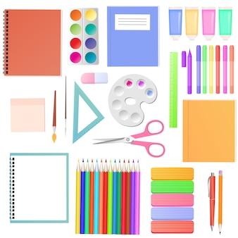 文房具。学生向けの学用品のセット。子供たちの創造性のための画材。