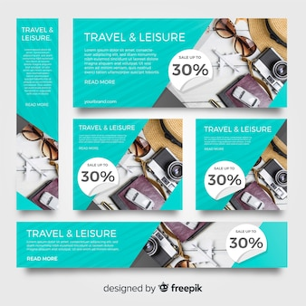 Stationery banner collection with travel  images
