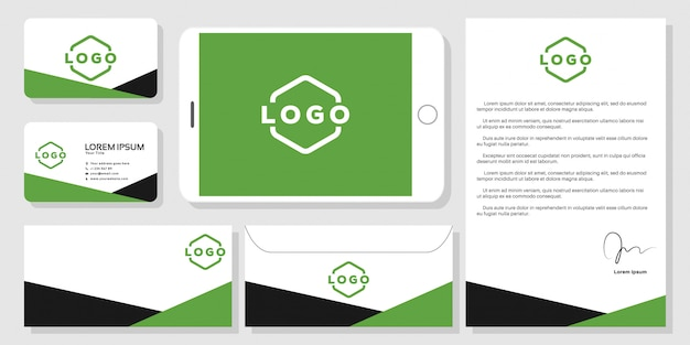 Stationery business card branding mockup template vector