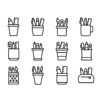 Stationery case line icons pack