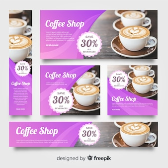 Stationery coffee banner collection with images