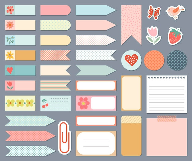 Stationery collection daily planner stickers templates