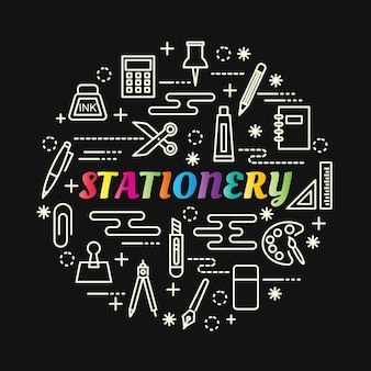 Stationery colorful gradient with line icons set