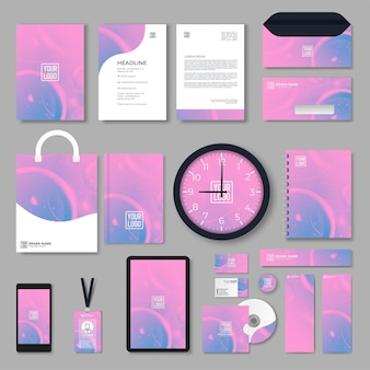Set di design di cancelleria in formato vettoriale