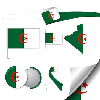Stationery elements collection with the flag of algeria design