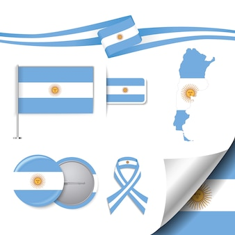 Stationery elements collection with the flag of argentina design