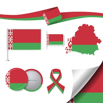 Stationery elements collection with the flag of belarus design
