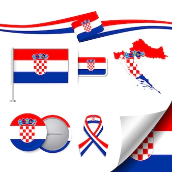 Stationery elements collection with the flag of croatia design