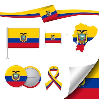 Stationery elements collection with the flag of ecuador design