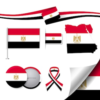 Stationery elements collection with the flag of egypt design