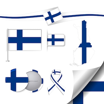 Stationery elements collection with the flag of finland design