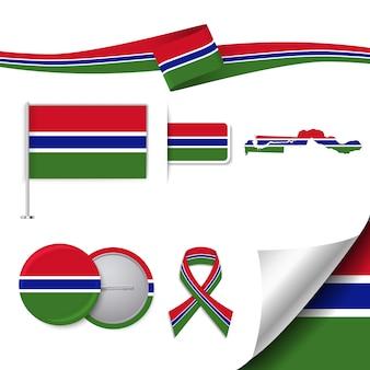 Collezione di elementi di cancelleria con la bandiera del design gambia