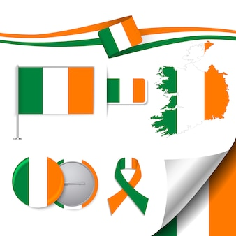 Stationery elements collection with the flag of ireland design