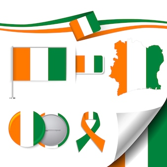 Stationery elements collection with the flag of ivory coast design