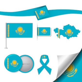 Stationery elements collection with the flag of kazakhstan design