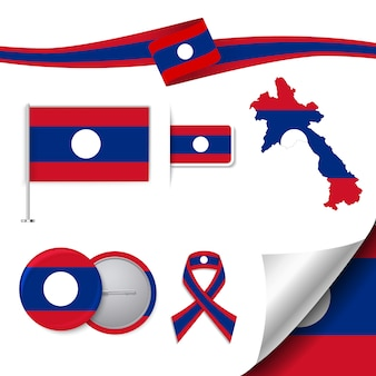 Stationery elements collection with the flag of laos design