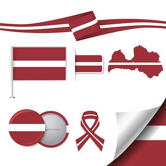 Collezione di elementi di cancelleria con la bandiera del design latvia