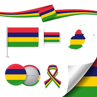 Stationery elements collection with the flag of mauritius design