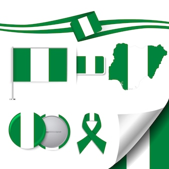 Stationery elements collection with the flag of nigeria design