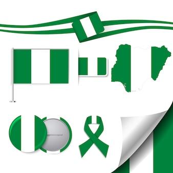 Collezione di elementi di cancelleria con la bandiera della nigeria design
