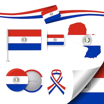 Stationery elements collection with the flag of paraguay design
