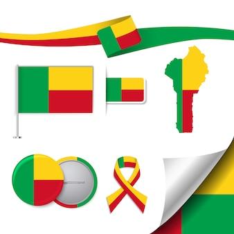 Коллекция канцелярских элементов с флагом дизайна бенина