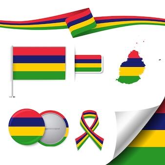 モーリシャスデザインの旗が付いているステーショナリー要素のコレクション