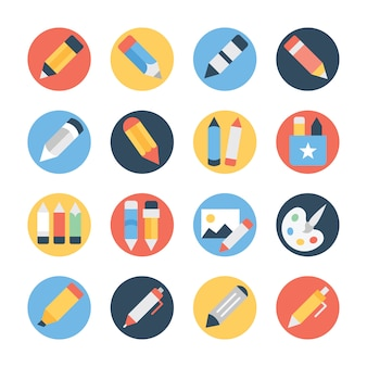Stationery flat rounded icons pack