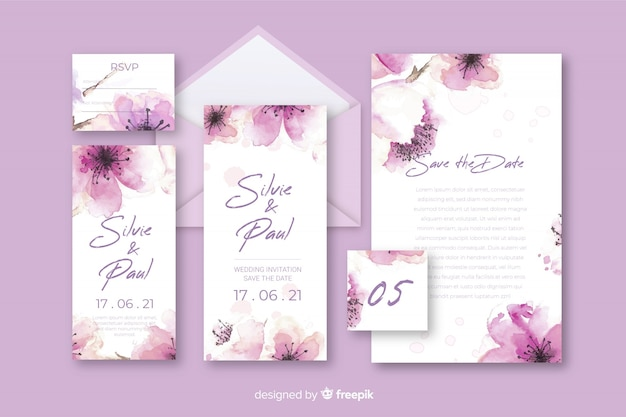 Stationery floral letter and envelope for wedding in violet shades