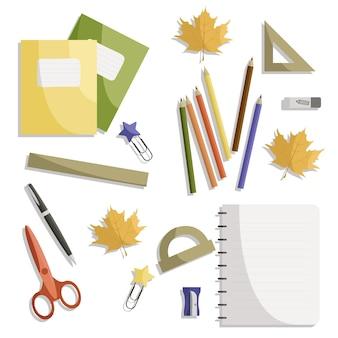 Канцелярские товары для ученика школьник студент тетрадь на столе тетради обратно в школу