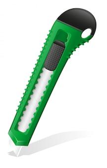 Stationery green knife vector illustration