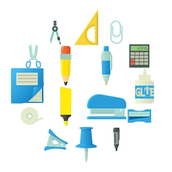 Stationery icons set, cartoon style